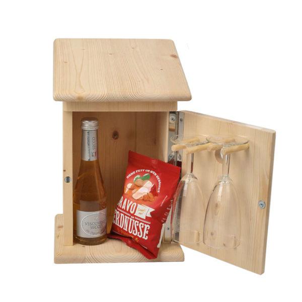 Moll Holzdesign Zwitscherkasten Damen offen mit Glaesern