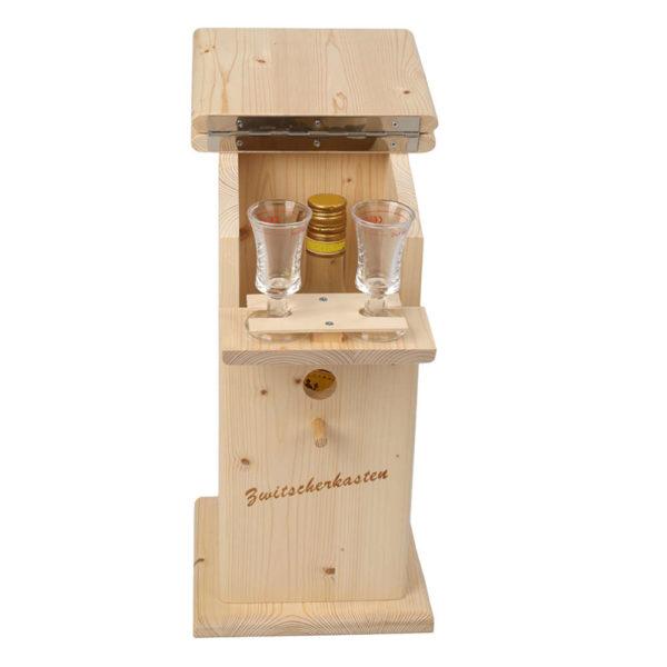 Moll Holzdesign Zwitscherkasten offen mit Glaesern